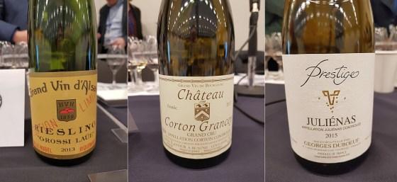 Hugel & Fils Grossi Laue Riesling 2013, Maison Louis Latour Grand Cru Château Corton Grancey 2017, and Les Vins Georges Duboeuf Julienas Cuvée Prestige 2015 wines at the French Terroir Talk