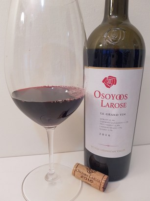 Osoyoos Larose Le Grand Vin 2016 with wine in glass