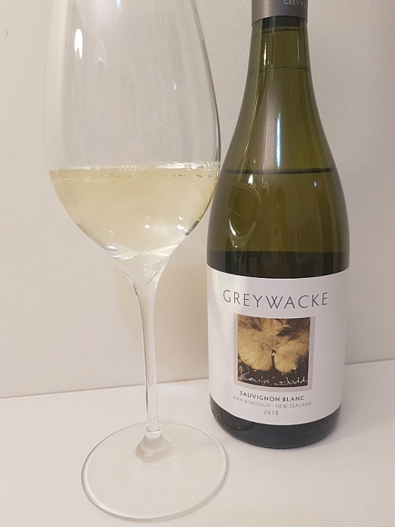 Greywacke Marlborough Sauvignon Blanc 2018 with wine in glass