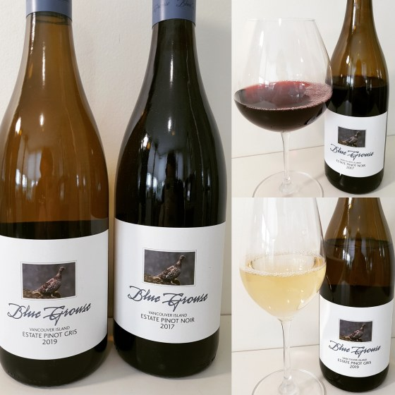 Blue Grouse Estate Pinot Gris 2019 and Pinot Noir 2017 with wines in glasses