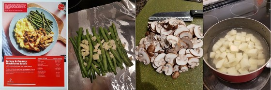 Cooking the Turkey and Creamy Mushroom Sauce: preparing the green beans, slicing the mushrooms, and boiling the potatoes