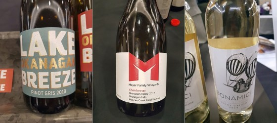 Lake Breeze Vineyards Pinot Gris 2018, Meyer Family Vineyards McLean Creek Road Chardonnay 2017, and Bonamici Cellars Pinot Grigio 2018