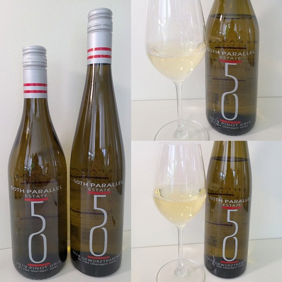 50th Parallel Estate Pinot Gris and Gewurztraminer 2019 with wines in glasses