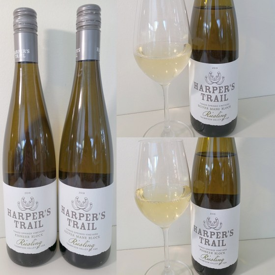 Harper's Trail Thadd Springs Vineyard Pioneer Block Riesling and Silver Mane Block Riesling 2019 with wines in glasses