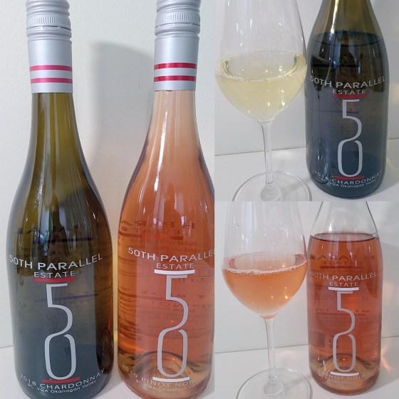 50th Parallel Estate Winery Chardonnay 2018 and Pinot Noir Rosé 2019 with wines in glasses