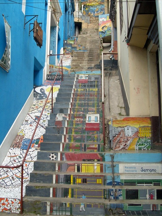 Murals painted on stairs and walls in Valparaiso