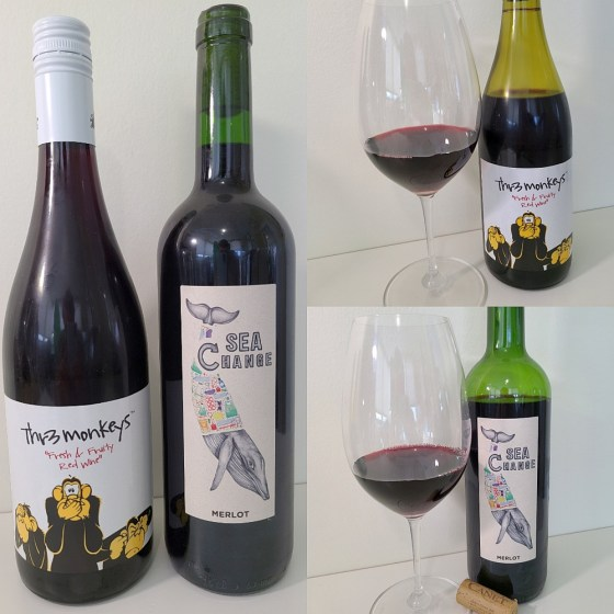 Thr3 Monkeys Fresh & Fruity Red Wine and Sea Change Merlot 2018 with wines in glasses