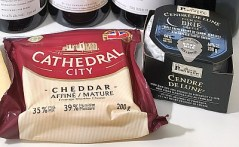 Cathedral City Mature Cheddar and Alexis de Portneuf Cendré de Lune cheeses