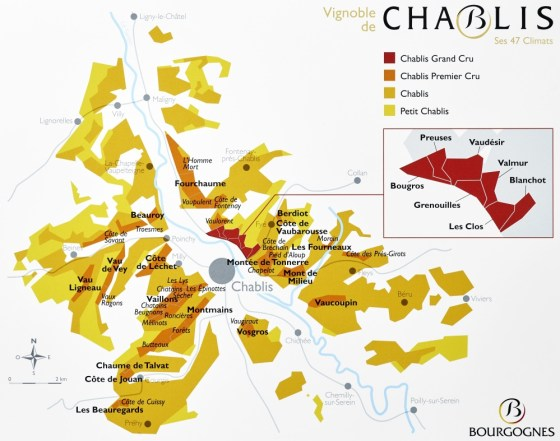 Climats and appellations map in Chablis (courtesy Vins de Chablis)