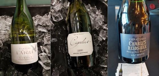 Gérard Bertrand Domaine de L'Aigle Chardonnay and Cigalus Blanc 2018, and Charles Heidsieck BrutReserveNV wines