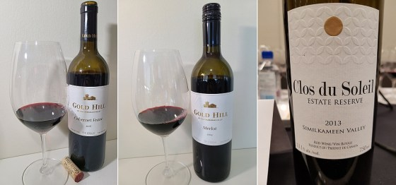 Gold Hill Winery Cabernet Franc 2016 and Merlot 2014 and Clos du Soleil Winery Estate Reserve Red 2013 wines