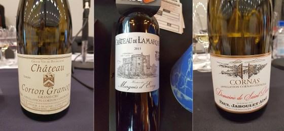 Maison Louis Latour Grand Cru Château Corton Grancey 2017, Crus et Domaines de France Château de Lamarque 2015, and Paul Jaboulet Aîné Cornas Domaine de Saint Pierre 2017