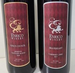 Enrico Winery Braveheart Cabernet Libre 2017 and King's Council Reserve Vintner's Blend 2018 labels