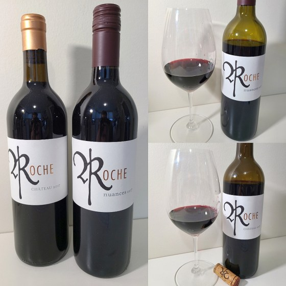 Roche Wines Chateau 2017 and nuances 2017 with wines in glasses