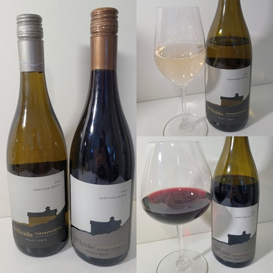 Hillside Winery Heritage Series Pinot Gris 2019 and Pinot Noir 2018 with wines in glasses