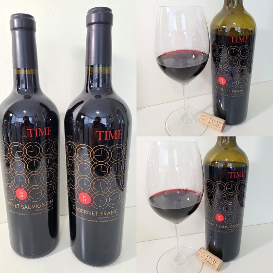 TIME Winery Cabernet Franc 2018 and Cabernet Sauvignon 2018 with wines in glasses