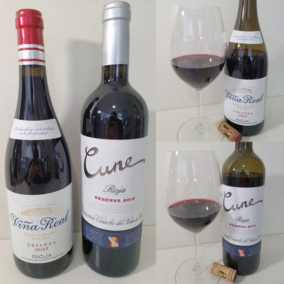 CVNE Vina Real Rioja Crianza 2017 and Cune Rioja Reserva 2015 with wines in glasses