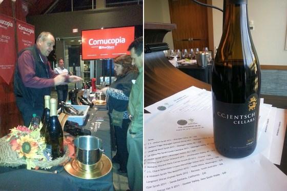 Chris Jentsch at Cornucopia 2015 and his 2013 Syrah at the Judgement of BC