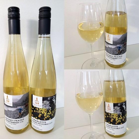 Seaside Pearl Estate Petite Milo 2019 and Matsqui Prairie Gewurztraminer 2018 with wines in glasses