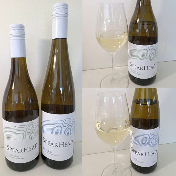 Spearhead Winery Golden Retreat Vineyard Pinot Gris and Riesling 2020 with wines in glasses