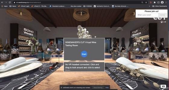Winemaker's CUT Virtual Tasting Room Welcome screen