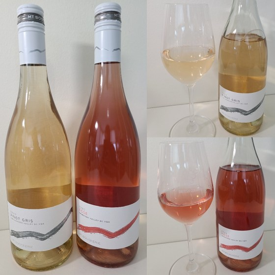 Mt. Boucherie Estate Winery Pinot Gris and Rosé 2020 with wines in glasses