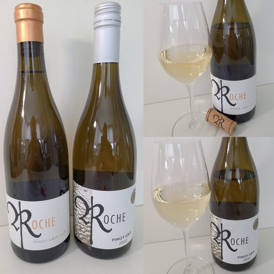 Roche Wines Tradition Pinot Gris 2018 and Texture Pinot Gris 2020 with wines in glasses