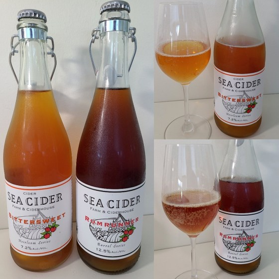 Sea Cider Farm & Ciderhouse Bittersweet and Rumrunner with ciders in a glass