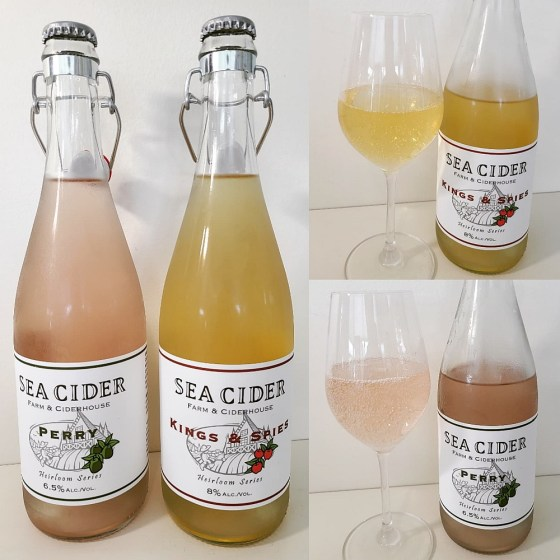 Sea Cider Farm & Ciderhouse Kings & Spies and Perry with ciders in a glass