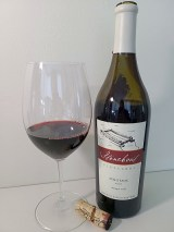 Stoneboat Pinotage 2007 with wine in glass