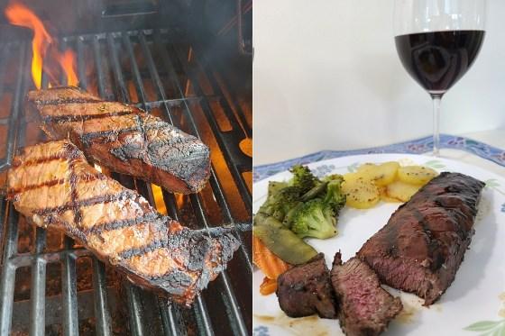 Grilled striploin steak pairing with Seaside Pearl's Merlot and Petit Verdot wines