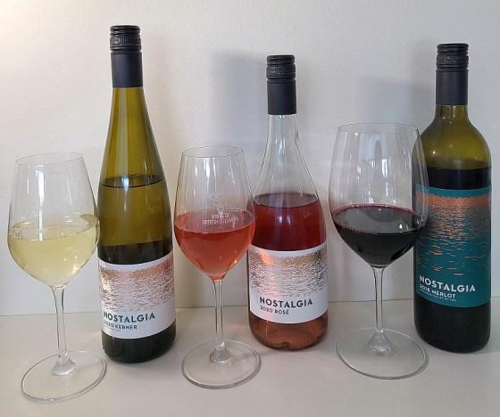 Nostalgia Wines Kerner, Rosé, and Merlot wines