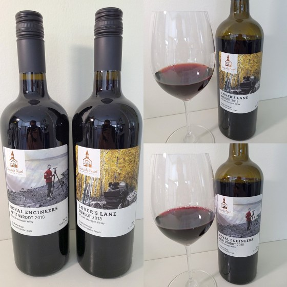 Seaside Pearl Farmgate Winery Royal Engineers Petit Verdot and Lover's Lane Merlot 2018 with wines in glasses