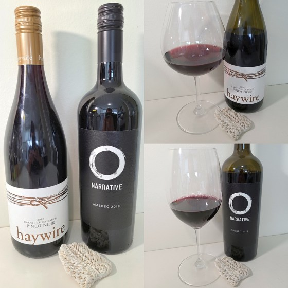 Haywire Garnet Valley Ranch Pinot Noir 2018 and Narrative Malbec 2018 with wines in glasses