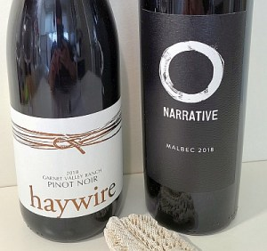 Haywire and Narrative wine labels