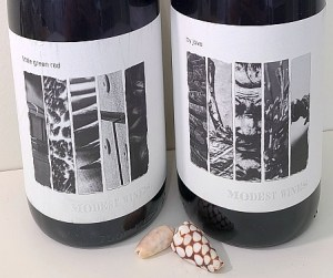 Modest Wines by Jove Sangiovese 2019 and Little Green Red Petit Verdot 2018 labels