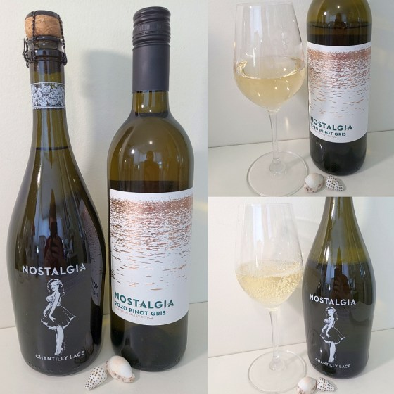 Nostalgia Wines Pinot Gris and Chantilly Lace 2020 with wines in glasses