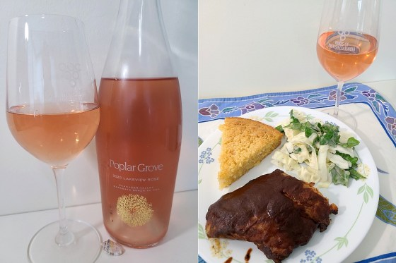 Poplar Grove Lakeview Rosé 2020 and Pork Rib BBQ dinner