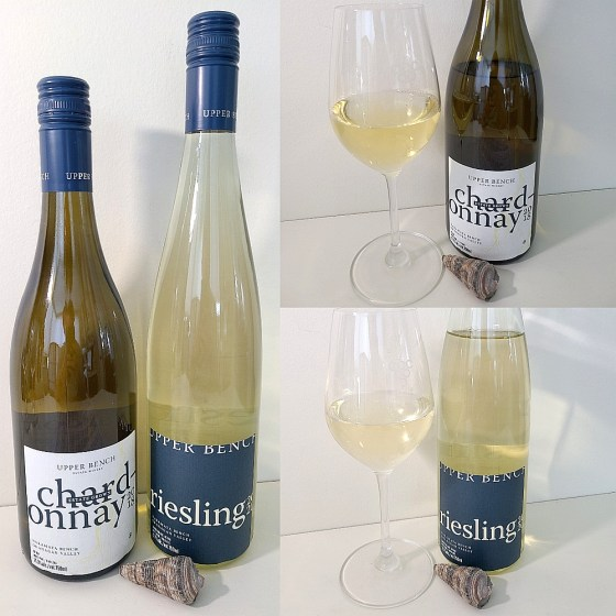 Upper Bench Winery and Creamery Chardonnay 2018 and Riesling 2020 with wines in glasses