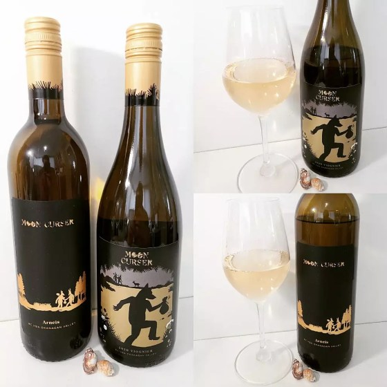 Moon Curser Vineyards Arneis and Viognier 2020 with wines in glasses