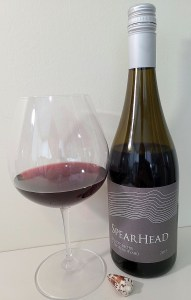 Spearhead Winery Coyote Vineyard Pinot Noir 2019 with wine in glass