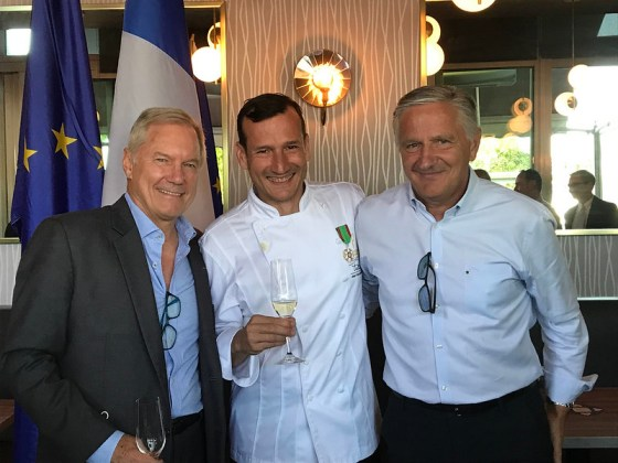 Three Chevaliers of France - Vancouver restaurateurs John Blakely, Chef Jean-Francis Quaglia and Chef Michel Jacob (PC Nancy Wong)