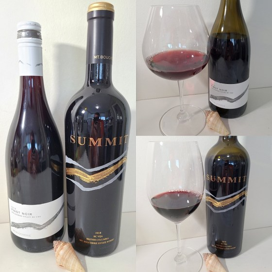 Mt. Boucherie Estate Winery Pinot Noir 2019 and SUMMIT 2018 with wines in glasses
