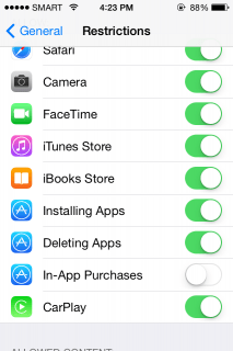 Switching off all in-app purchases by a single button
