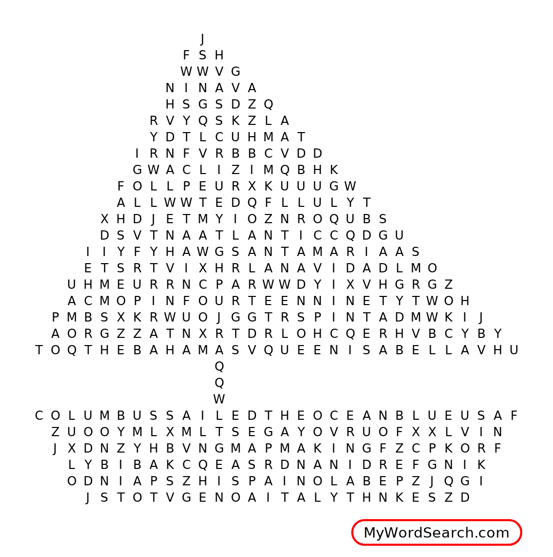Christopher Columbus Word Search