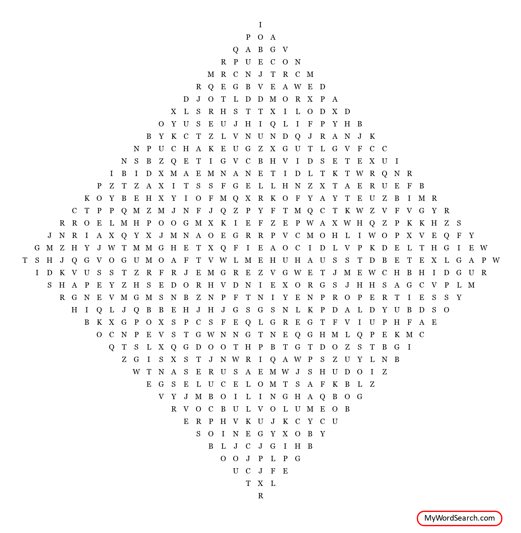 Matter Word Search
