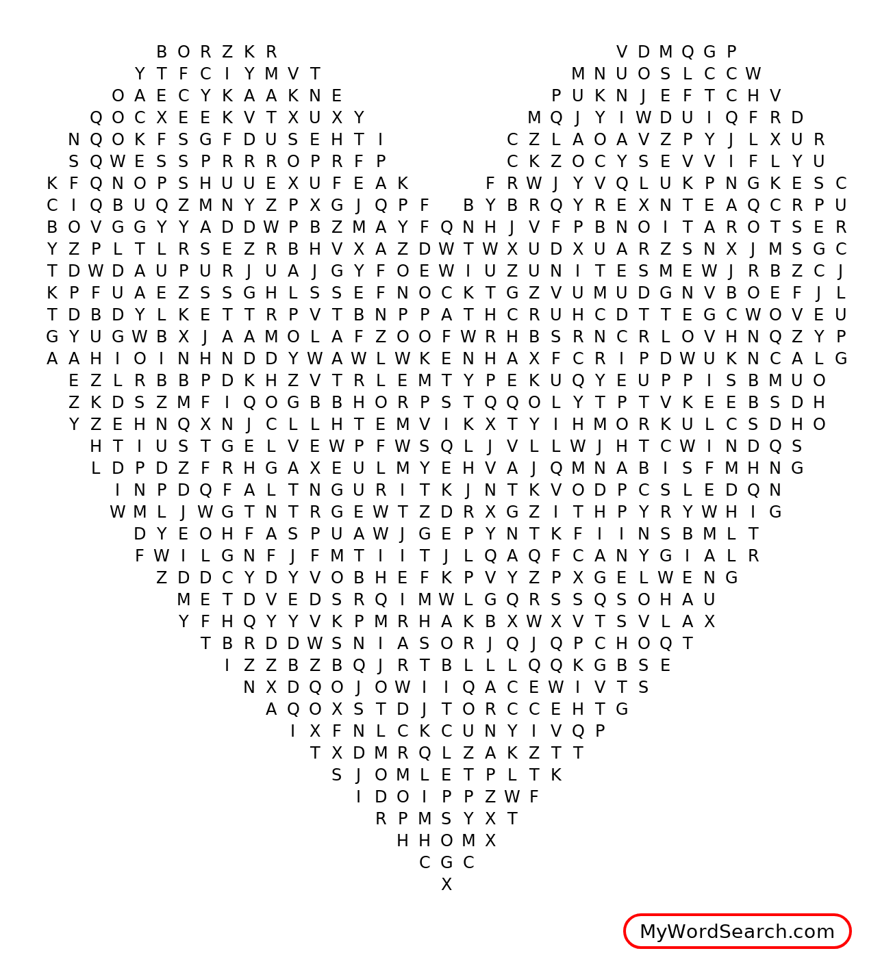 The God Shaped Heart Word Search