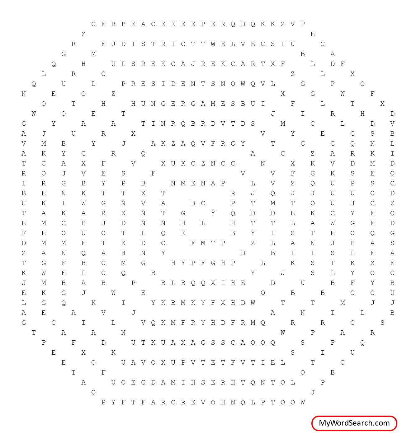 The Hunger Games Word Search