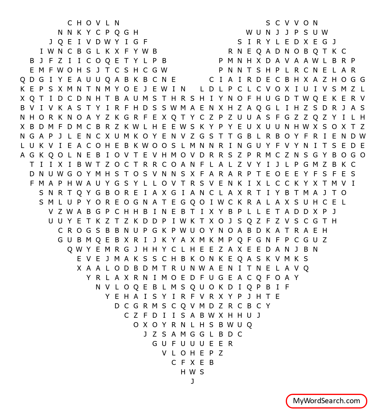The Lone Wolf Valentine S Word Search