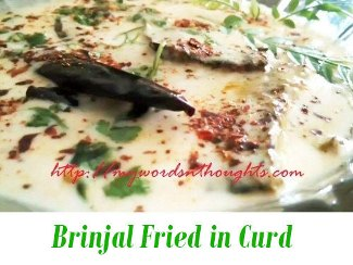 Brinjal Fried in Curd Curry